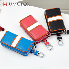 Genuine Leather Man Car key holder organizer mulfifunction key bag Fashion Woman keys Housekeeper 6 key Rings MIUMOFOX HCL3232