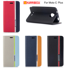 Karribeca flip wallet leather case For Moto C plus colorful tone phone cover for moto C plus coque capas etui kryt puzdra tok