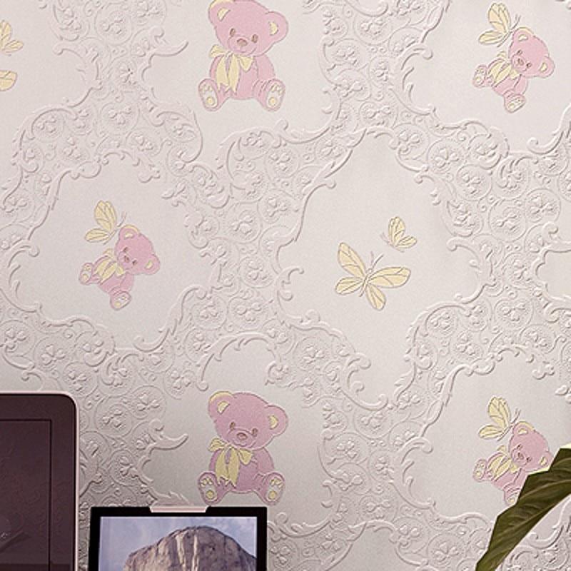 Korean three-dimensional non-woven wallpaper 3d cartoon bear reliefs backdrop bedroom childrens room wallpaper papel de parede<br><br>Aliexpress