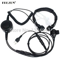 Military Grade Tactical Throat Mic Headset/Earpiece with BIG Finger PTT for Icom Radio 2-pin 122-952