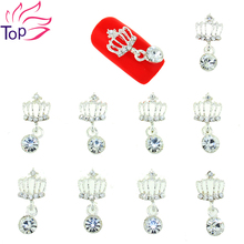 10 Pcs/Lot Crystal Imperial Crown Studs For Nails Charms 3D Metal Chain Nail Art Rhinestones Pendant Diy Decorations TN1705