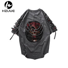 HZIJUE 2017 Summer Mens Short Sleeves Hip Hop Creative Graphic Skeleton Print T Shirt Personality Man Fashion Brand male T-shirt(China)