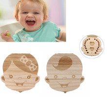 Spanish/English language Wood Tooth Box Organizer Save Milk Teeth Storage Collecting Teeth Gifts Umbilical Cord Lanugo for kids