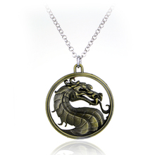 Mortal Combat Dragon Logo Pendant Necklace Rope Chain Silver(China)