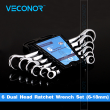 Veconor 6pcs/set double ratcheting head wrench spanner set a set of key wrench 8~19mm with plastic tool storage rack(China)