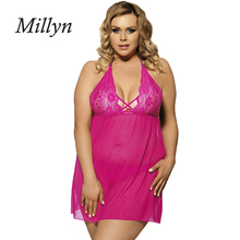 MILLYN SEXY Europe XXXL lingerie semi transparent gauze ladies sexy nightgown 80063(China)