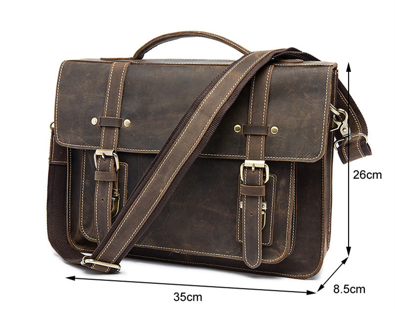 High Grade Crazy Horse Leather men Briefcase Vintage Genuine Leather bag Casual Fashion 13″ Laptop Handbags