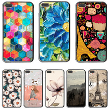 Soft Edge+Hard Plastic Back Cover Case For Apple iPhone 7 8 7Plus Cases 7 Plus Phone Shell Pretty Flowers Graceful Design(China)