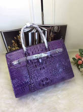 higher quality solid crocodile head and back skin women tote handbag, with lock classic design women tote shopping bag purple
