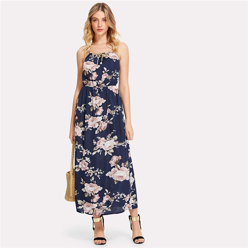 COLROVIE 2018 All Over Florals Faux Pearl Detail Cami Dress Ladies Sleeveless A Line Dress Spaghetti Strap Vacation Dress 8