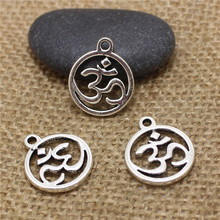 PULCHRITUDE 40 pcs 18*21mm Antique silver alloy round OM/OHM/3D Sign charms Pendant Diy Jewelry Findings Accessories T0534