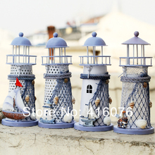 Free Shipping! Mediterranean Ocean Style Metal Lighthouse Candle Holder Lantern 4 designs available M size Home DecorationC1031(China)