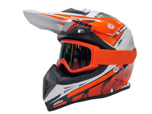 Motorcycle KTM helmet with goggles, Motorbike motocross helmet,electric bicycle helmets white orange or black orange