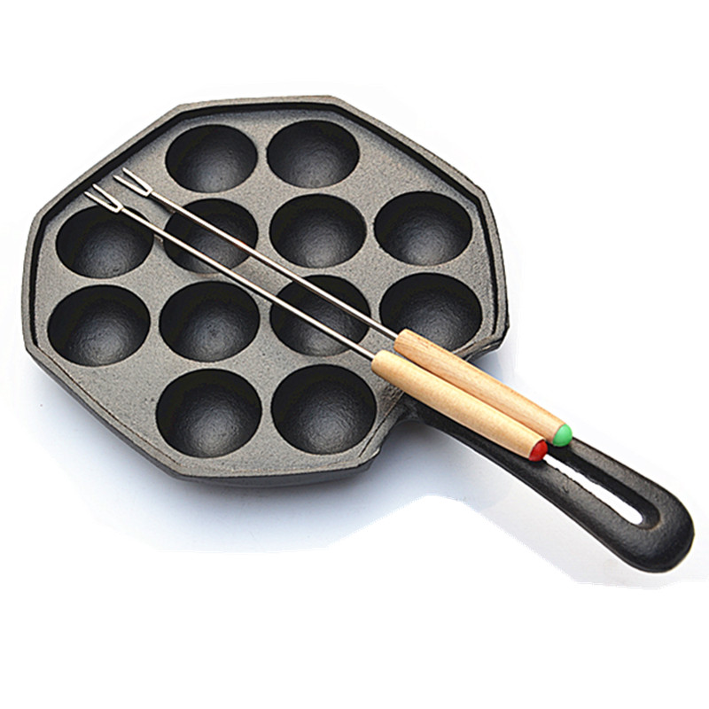 No chemical coating cast iron  egg waffle pan Thicker bottom Egg Puff Bubble Waffle Pan 4cm/hole*12 with 22cm handle non-stick<br>