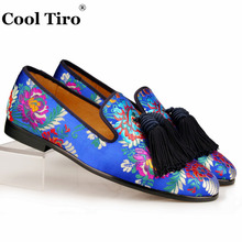 Cool Tiro Jacquard Canvas Slippers Men Loafers Silk Tassels Men's Flats Wedding Dress Shoes Leather Smoking Slip on Moccasins(China)