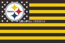Pittsburgh Steelers Nation Flag Official NFL Football Team 3' X 5' Flag With Usa Flag