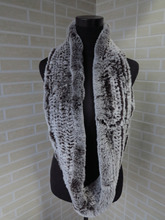 Genuine rex rabbit fur  circle scarf wrap cape chocolate with white tips shipping free