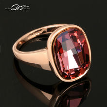Big Red Austrilian Crystal Finger Rings Rose Gold Color Fashion Brand Crystal Jewelry For Women Wholesale DFR124(China)