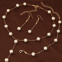 Imitation Pearl Jewelry Sets Women Necklace Bracelet Earrings Engagement Jewelery  Bridal Wedding Accessories #228451
