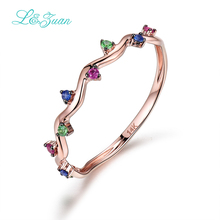 I&zuan 14K Rose Gold Womens Rings Trendy 0.084ct Ruby Triangle Colored Gemstones Prong Setting wave Wedding K-Gold Fine Jewelry(China)