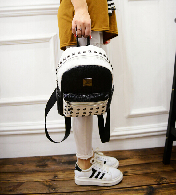 2016 spring fashion new black and white hit color quality pu leather shoulder bag women bag casual fashion rivet small backpack<br><br>Aliexpress
