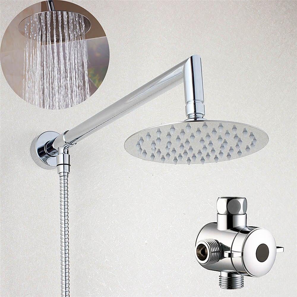 Bathroom 6 Round Rain Shower Head with Shower Arm Bottom Entry &amp; 3 Way Diverter 03-005<br><br>Aliexpress