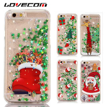 LOVECOM Glitter Stars Quicksand Christmas Tree Santa Claus Phone Case For iphone 5 5S SE 6 6S 7 Plus Hard PC Back Cover Coque