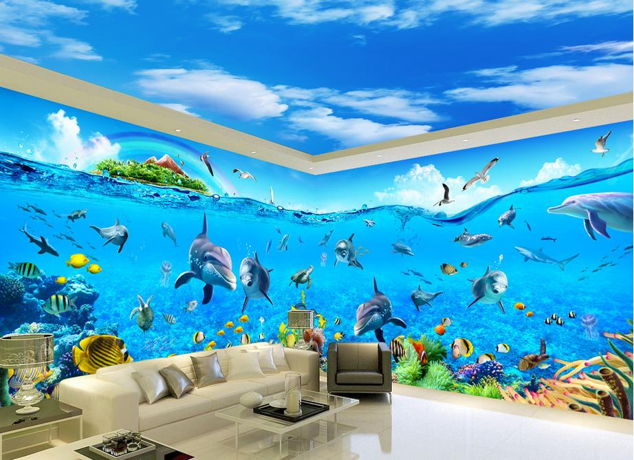 3d stereoscopic wallpaper Ocean World Space theme Wall Decoration Mural papel<br>