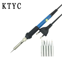 220V 60W Adjustable Temperature Electric Soldering Iron with regulator Gift 5pcs Tips Solder Station