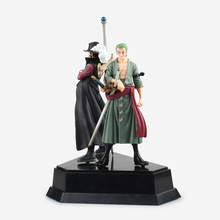 HHIHHA 2pcs One Piece Roronoa Zoro Straw Hat Pirates Luffy VAH HEROES New World Anime Dracule Mihawk PVC 21CM Limit Garage Toy