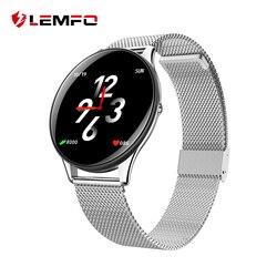 LEMFO SN58 закаленное Стекло Экран Сталь умные часы с ремнем IP68 Водонепроницаемый монитор сердечного ритма крови Давление для Android IOS Телефон