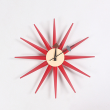 CW08 Factory direct Wooden Multi Color Sunburst wall clock Manufacturers of professional designers clock wholesale wall clocks(China)