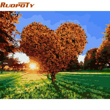 RUOPOTY Heart Tree DIY Painting By Numbers Modern Wall Art Picture Handpainted Oil Painting For Home Decor With Box 40x50cm(China)