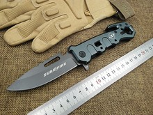 KESIWO SF survival folding knife utility rescue camping knife tactical knives flipper hand multi tools gray titanium coat blade(China)