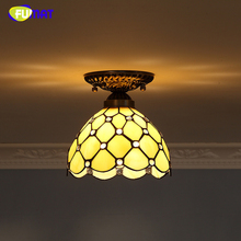 FUMAT Baroque Stained Glass Lamp European Retro  Indoor Light Fixtures For Front porch Aisle Vitrage Lights Mosaic Ceiling Lamps