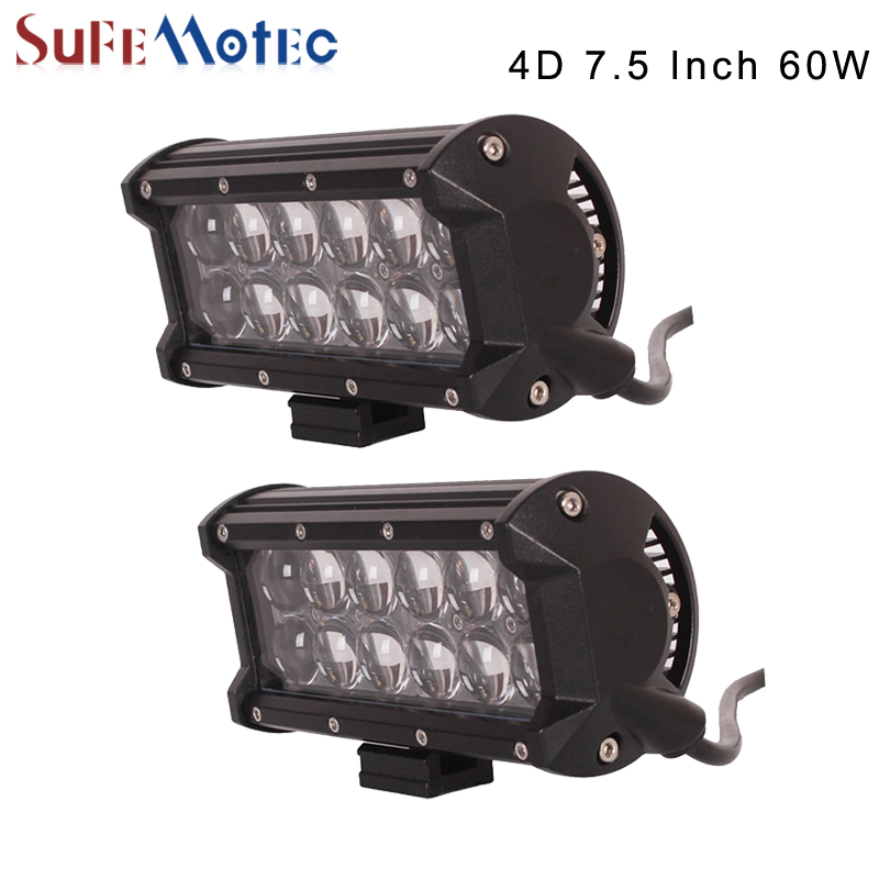 2PCS 7.5 INCH 60W 4D LED LIGHT BAR FOR TRUCKS OFFROAD 4X4 4WD BOAT Tractor SPOT FLOOD BEAM 12V 24V Driving Work Lights FOG LAMP<br>