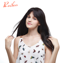 Rechoo Straight Machine Made Remy Hair #1B Natural Black Color 100% Human Hair 10PCS Clip In Extensions 200G 160G 22 24 incheS(China)