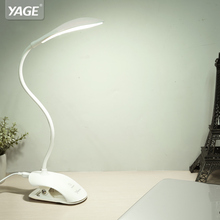 YAGE Desk lamp USB Table Lamp 14 LED Table lamp with Clip Reading Bed Light LED Desk lamp Table Touch on/off Switch YG-5933(China)