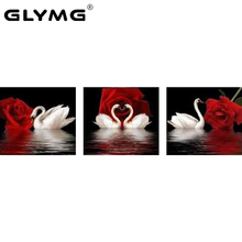 GLymg Needlework Handicraft Diamond Painting Rose Swan Triptych Decorative Diamond embroidery Square Drill Red Rose Love Picture(China)