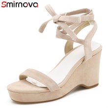 Smirnova 2018 sweet summer wedding party shoes woman flock fashion women  sandals wedges lsce up leisure high heels shoes 236a261bcbd0