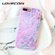 LOVECOM Colorful Purple Laser Case For iPhone 6 6S 7 8 Plus Glossy Soft IMD Protective Phone Cases Back Cover Bags Shell(China)