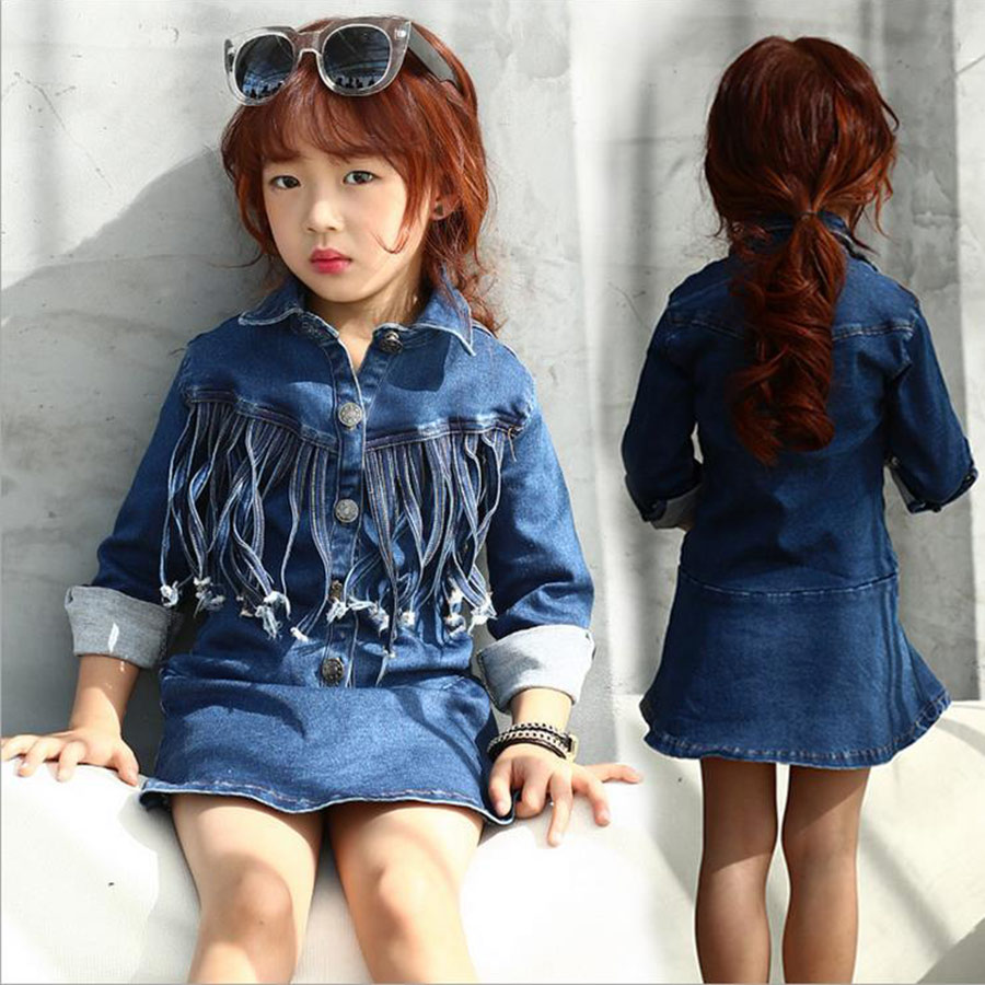 Kids Girls Toddlers Fashion Buttons Demin Baby Tops Shirts Dresses Sz 2-7Y Hot Selling<br><br>Aliexpress