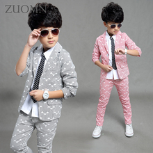 Boys Blazer 2 pcs/set Wedding Suits for Boy Formal Dress Suit Boys wedding Children's Suit Kid Clothes boy Outfits Costume GH344(China)