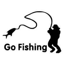 HotMeiNi Cartoon Go Fishing Night Reflective Car Stickers Die Cut Vinyl Netbook Decal(China)