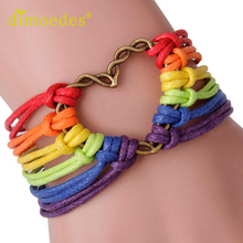 Diomedes Gussy Life wholesale Rainbow Flag Pride LGBT Charm Heart Braided Bracelet Gay Lesbian Love Bracelets Jan17