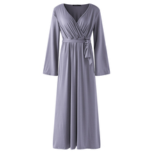 Buy Women Elegant Loose Maxi Dress 2018 Long Sleeve Sexy V Neck Spring Autumn Casual High Waist Long Party Gown Dresses Vestidos for $17.36 in AliExpress store