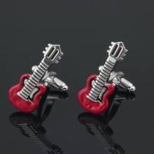 Men's Red Enamel Guitar Cufflinks Colorful Silver Color Copper Musical Instruments Design Best Gift For Men(China)
