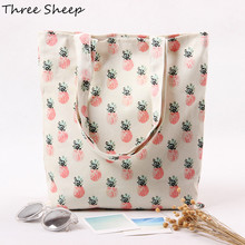 Cotton Canvas Tote Bag White Bags Women Pineapple Canvas Handbag Ladies Shoulder Bags Small Sac a Main Femme De Marque