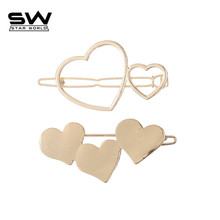 STARWORLD new fashion 2 types heart shape hair pin hollow heart love Hair Clip For Women Barrettes Head Accessories Bijoux(China)