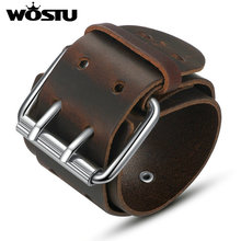 WOSTU High Quality Genuine Leather Wrap Vintage Brown & Black Bracelet For Men Women Unisex Jewelry Boyfriend Gift XCJ0338(China)